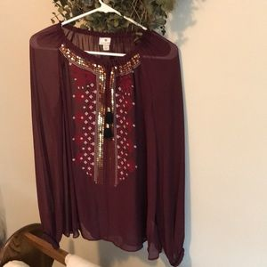 Red Blouse with gold detail